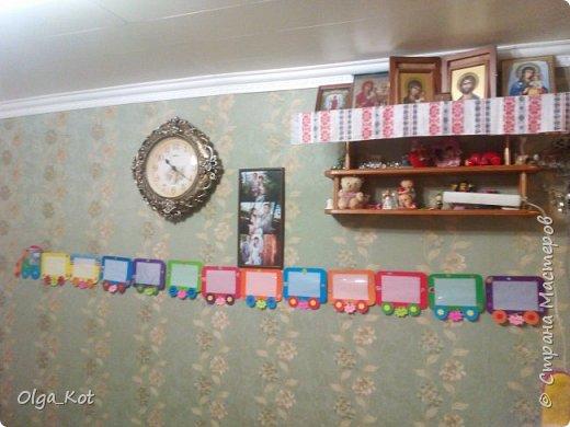 мини МК Паровозик из картона для фотографий на годик доченьки фото 8