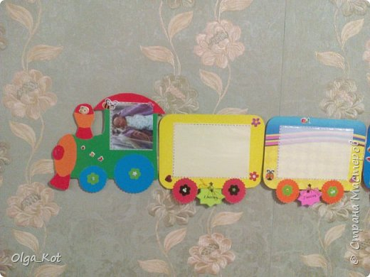 мини МК Паровозик из картона для фотографий на годик доченьки фото 9