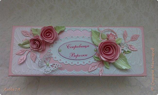 """Всем, добрый вечер!!! Я, снова вернулась в СМ после замечательного отпуска, проведенного в Крыму. Сегодня у меня заказная коробочка с сокровищами для Верочки. Назвала  ее """"Нежность"""". фото 2"""