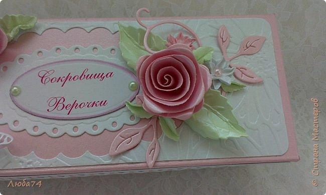 """Всем, добрый вечер!!! Я, снова вернулась в СМ после замечательного отпуска, проведенного в Крыму. Сегодня у меня заказная коробочка с сокровищами для Верочки. Назвала  ее """"Нежность"""". фото 4"""