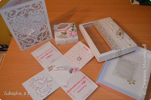 Свадебный набор: открытка в коробочке и коробочка под подарок фото 9