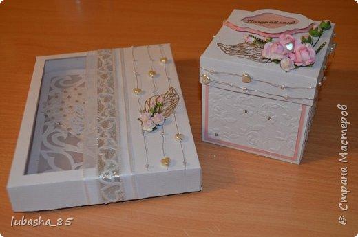 Свадебный набор: открытка в коробочке и коробочка под подарок фото 2