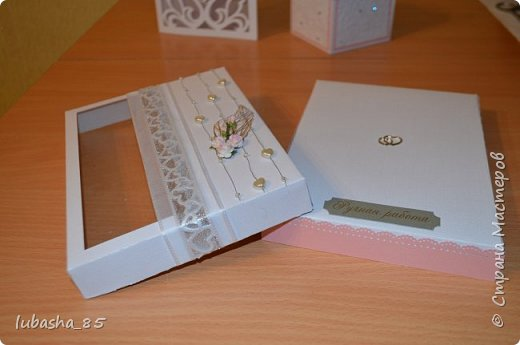 Свадебный набор: открытка в коробочке и коробочка под подарок фото 6