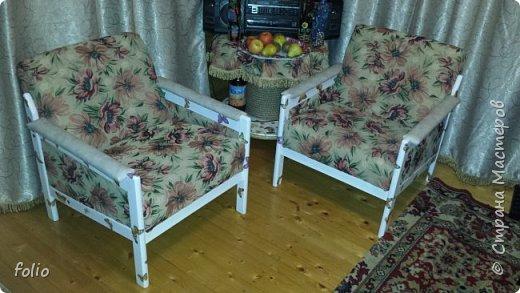 Честно говоря ожидала большего. Но у меня была цель, сделать мебель однотипную. Одинаковые стулья... одинаковые кресла Кому интересно, стулья вот здесь http://stranamasterov.ru/node/941866 фото 1