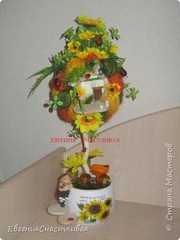 """""""ГНОМ-ПОДСОЛНУХ""""- использованы, сизаль 3 оттенков, искусственные цветы-подсолнух,  искусственные желуди, искусственные грибы, керамическая кашпо, спил оливы, декор металлический фото 1"""