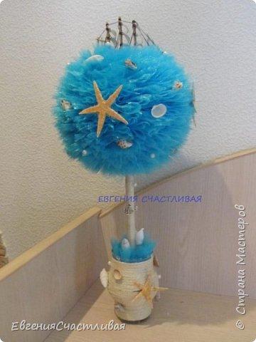 """""""ЛАГУНА""""- использованы органза, шпагат, декор-ракушки, морская звезда, кораблик, металлический декор фото 1"""