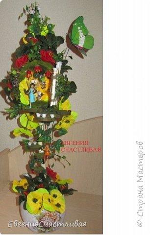"""""""ГНОМ-ПОДСОЛНУХ""""- использованы, сизаль 3 оттенков, искусственные цветы-подсолнух,  искусственные желуди, искусственные грибы, керамическая кашпо, спил оливы, декор металлический фото 4"""