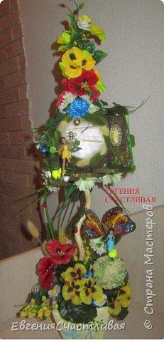 """""""ГНОМ-ПОДСОЛНУХ""""- использованы, сизаль 3 оттенков, искусственные цветы-подсолнух,  искусственные желуди, искусственные грибы, керамическая кашпо, спил оливы, декор металлический фото 8"""