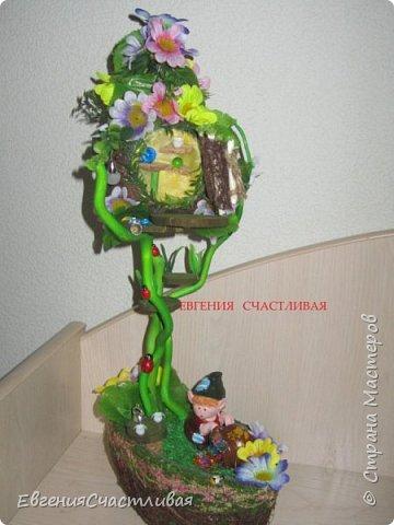 """""""ГНОМ-ПОДСОЛНУХ""""- использованы, сизаль 3 оттенков, искусственные цветы-подсолнух,  искусственные желуди, искусственные грибы, керамическая кашпо, спил оливы, декор металлический фото 12"""