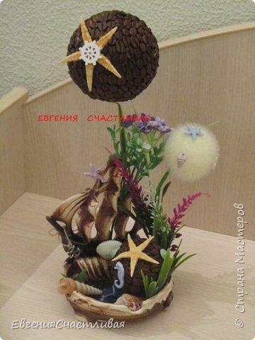 """""""ЛАГУНА""""- использованы органза, шпагат, декор-ракушки, морская звезда, кораблик, металлический декор фото 5"""