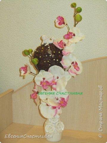"""""""МАКОВКА""""- использованы натуральные кофейные зерна, искусственные цветы-  маки, флор зелень, металлический декор-подкова, керамическая подставка, декоративные шары фото 3"""