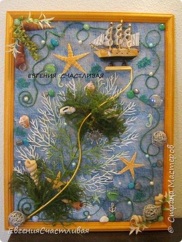 """""""ЛАГУНА""""- использованы органза, шпагат, декор-ракушки, морская звезда, кораблик, металлический декор фото 7"""