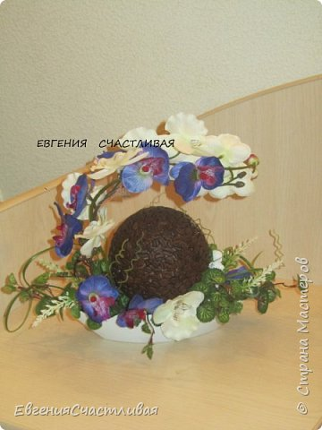 """""""МАКОВКА""""- использованы натуральные кофейные зерна, искусственные цветы-  маки, флор зелень, металлический декор-подкова, керамическая подставка, декоративные шары фото 16"""