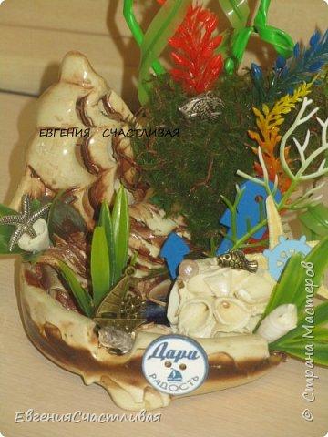"""""""ЛАГУНА""""- использованы органза, шпагат, декор-ракушки, морская звезда, кораблик, металлический декор фото 4"""