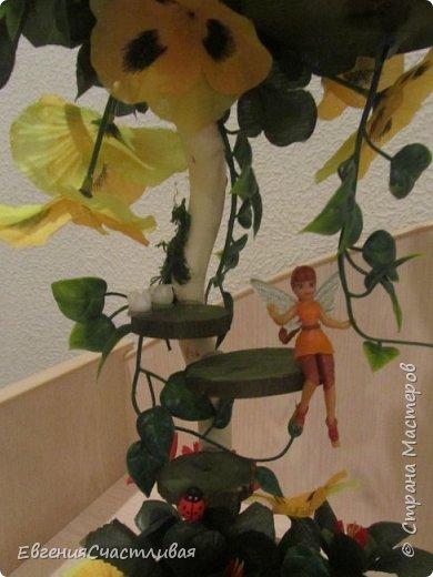 """""""ГНОМ-ПОДСОЛНУХ""""- использованы, сизаль 3 оттенков, искусственные цветы-подсолнух,  искусственные желуди, искусственные грибы, керамическая кашпо, спил оливы, декор металлический фото 7"""