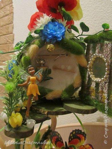 """""""ГНОМ-ПОДСОЛНУХ""""- использованы, сизаль 3 оттенков, искусственные цветы-подсолнух,  искусственные желуди, искусственные грибы, керамическая кашпо, спил оливы, декор металлический фото 10"""