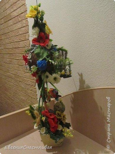 """""""ГНОМ-ПОДСОЛНУХ""""- использованы, сизаль 3 оттенков, искусственные цветы-подсолнух,  искусственные желуди, искусственные грибы, керамическая кашпо, спил оливы, декор металлический фото 9"""