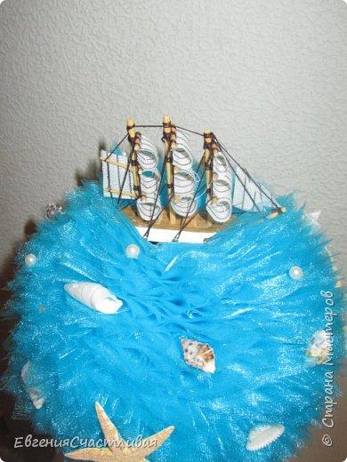 """""""ЛАГУНА""""- использованы органза, шпагат, декор-ракушки, морская звезда, кораблик, металлический декор фото 2"""
