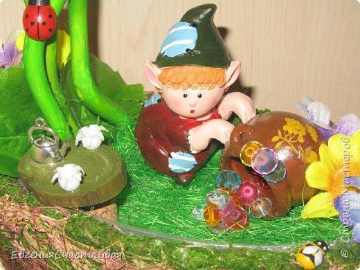 """""""ГНОМ-ПОДСОЛНУХ""""- использованы, сизаль 3 оттенков, искусственные цветы-подсолнух,  искусственные желуди, искусственные грибы, керамическая кашпо, спил оливы, декор металлический фото 13"""