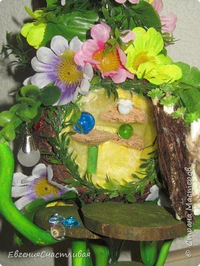 """""""ГНОМ-ПОДСОЛНУХ""""- использованы, сизаль 3 оттенков, искусственные цветы-подсолнух,  искусственные желуди, искусственные грибы, керамическая кашпо, спил оливы, декор металлический фото 14"""