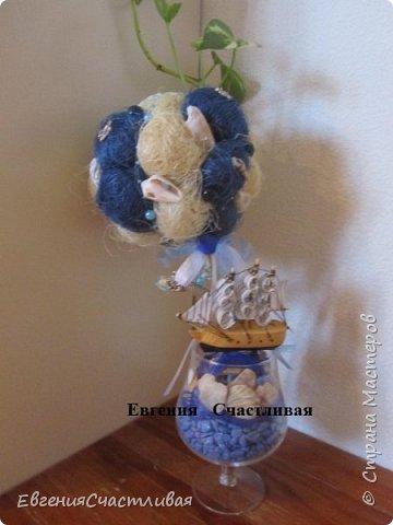 """""""ЛАГУНА""""- использованы органза, шпагат, декор-ракушки, морская звезда, кораблик, металлический декор фото 6"""