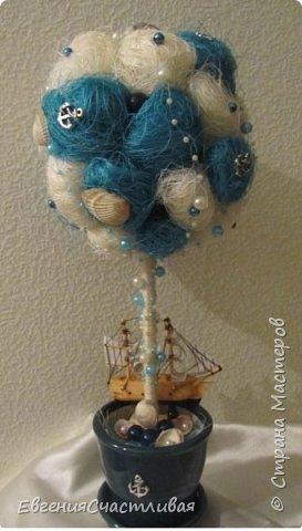 """""""ЛАГУНА""""- использованы органза, шпагат, декор-ракушки, морская звезда, кораблик, металлический декор фото 8"""