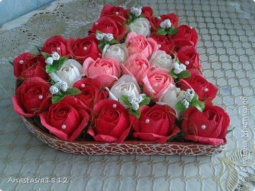 сердце с цветами+конфеты фото 2
