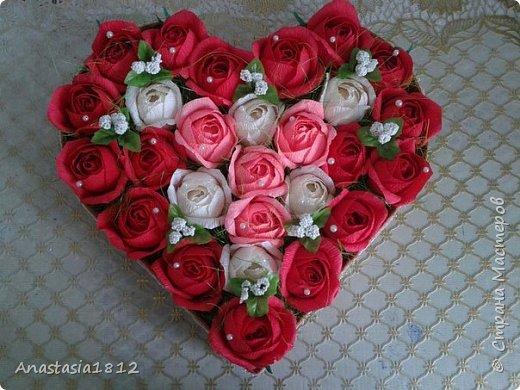 сердце с цветами+конфеты фото 1