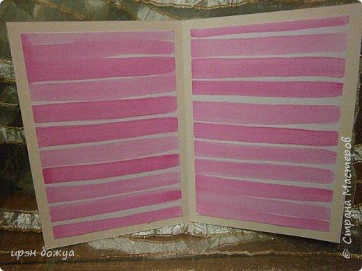 На прошлой недели в Ютубе посмотрела МК-как делать фон с помощью акварельных красок и штампов (https://www.youtube.com/watch?v=IXf3xmxnGQs).Решила попробовать. Вот результат. Сделала сразу 3 штуки в разной цветовой гамме.На двух открытках цветочки самодельные,наверное их сразу видно. Итак,смотрим. фото 25