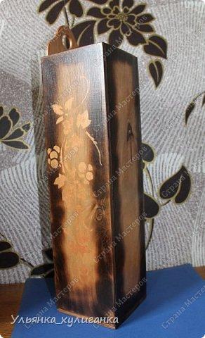 Углы короба обожгли, на боковых сторонах рисунок виноградной лозы. фото 2