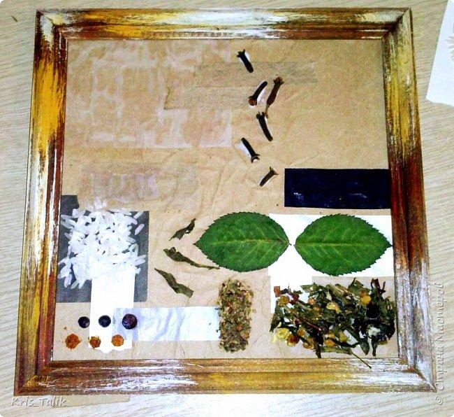 для работы нам понадобится: рамка для фото без стекла,различная цветная бумага или картон, специи (перец, приправа и т.д.), чай, макароны, кофе и я добавила розочку фото 5