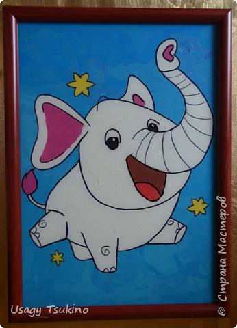 """Добрый вечер, Страна Мастеров! Предложили мне принять участие в благотворительной акции """"Купи слона, спаси ребенку жизнь!"""" Сначала для этой акции малыши делали слоников из соленого теста, рисовали картинки со слонами.  Я же решила, что свяжу пару слоников и сделаю картину из пластина. При чем игрушки я уже вязала, а пластилином не рисовала, но очень хотелось попробовать. Вот, что у меня получилось. фото 2"""