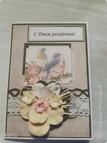 Добрый вечер жители СМ. Срочно нужно было сделать открытки в подарок на день рождения. Оставив детей на даче с бабушкой, приехала домой и быстрее за работу. Результат хочу показать вам. Первая открытка для свекрови.   фото 1