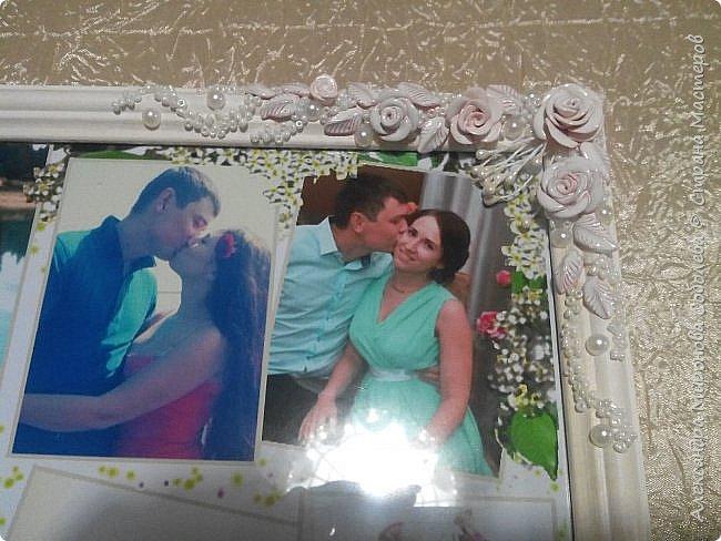 Вот такой подарок-сюрприз я приготовила для молодоженов. Сделала свадебный набор, осталось несколько розочек... налепила еще несколько цветочков, листиков, покрыла автоэмалью  (розочки разных оттенков были). фото 4