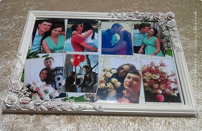 Вот такой подарок-сюрприз я приготовила для молодоженов. Сделала свадебный набор, осталось несколько розочек... налепила еще несколько цветочков, листиков, покрыла автоэмалью  (розочки разных оттенков были). фото 1