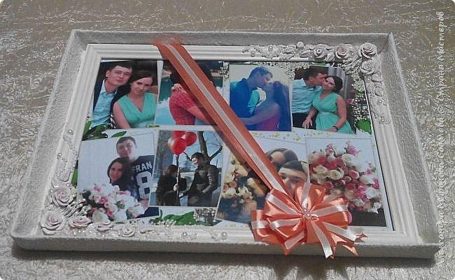 Вот такой подарок-сюрприз я приготовила для молодоженов. Сделала свадебный набор, осталось несколько розочек... налепила еще несколько цветочков, листиков, покрыла автоэмалью  (розочки разных оттенков были). фото 5