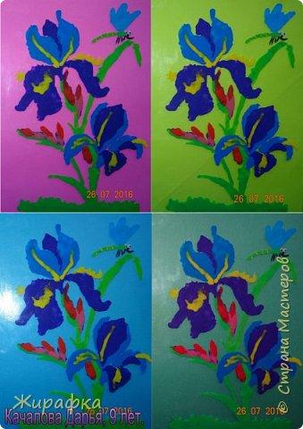 Эти Ирисы сделала Дарья, 9 лет. Работа одна, а фоны разные.   фото 1