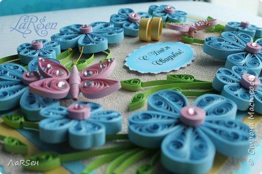 Доброго всем дня! Мои открытки. Сделаны по просьбе. На свадьбу - в розово -голубом цвете и на юбилей - малиновые цветы. Если есть что сказать о моих работах, то мне приятно будет услышать. Благодарю! фото 7