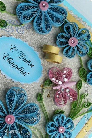 Доброго всем дня! Мои открытки. Сделаны по просьбе. На свадьбу - в розово -голубом цвете и на юбилей - малиновые цветы. Если есть что сказать о моих работах, то мне приятно будет услышать. Благодарю! фото 1