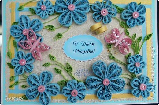 Доброго всем дня! Мои открытки. Сделаны по просьбе. На свадьбу - в розово -голубом цвете и на юбилей - малиновые цветы. Если есть что сказать о моих работах, то мне приятно будет услышать. Благодарю! фото 2