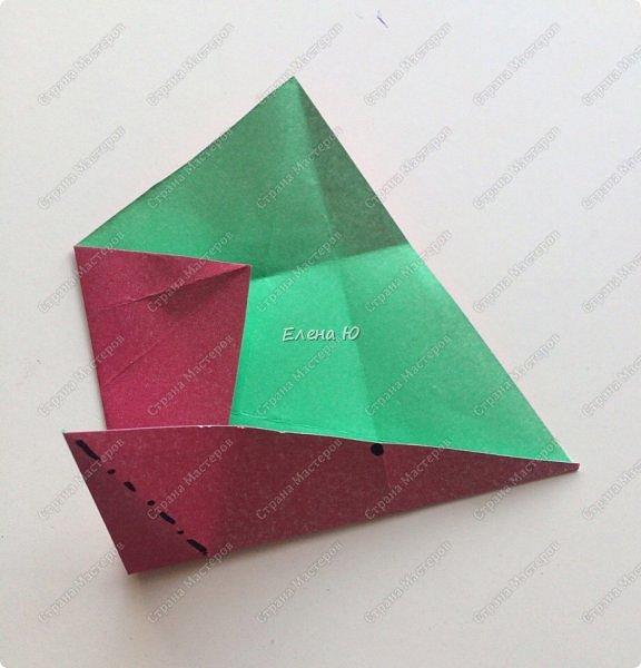 Для открыточки использован японский цветок-оригами, который я и предлагаю научиться складывать.  фото 7