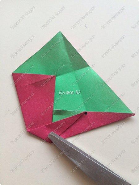 Для открыточки использован японский цветок-оригами, который я и предлагаю научиться складывать.  фото 8
