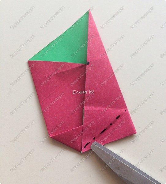 Для открыточки использован японский цветок-оригами, который я и предлагаю научиться складывать.  фото 9