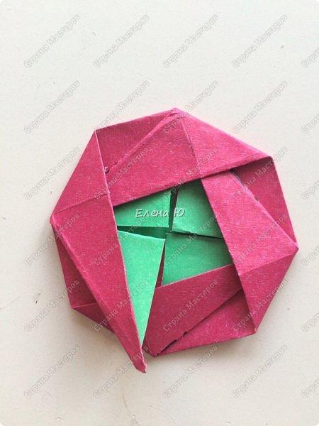 Для открыточки использован японский цветок-оригами, который я и предлагаю научиться складывать.  фото 17