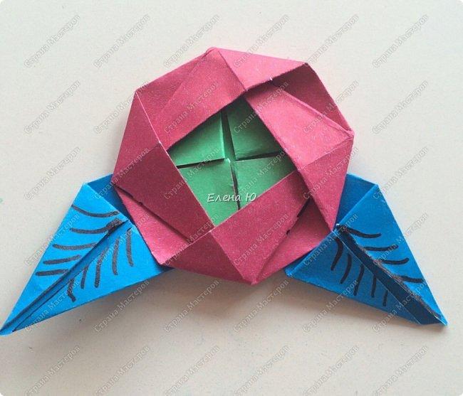 Для открыточки использован японский цветок-оригами, который я и предлагаю научиться складывать.  фото 19