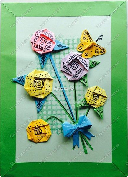 Для открыточки использован японский цветок-оригами, который я и предлагаю научиться складывать.  фото 1