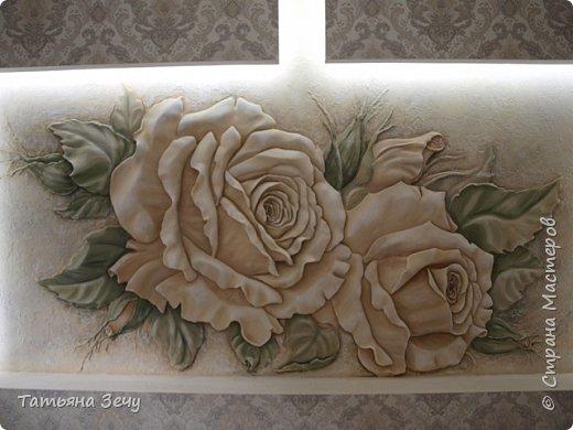 Дорогие,мастера,хочу поделиться новой работой.Наконец то дошла очередь и до цветов.Эти розочки зацвели в будущей спальне.Размер панно 200Х100 см. фото 1