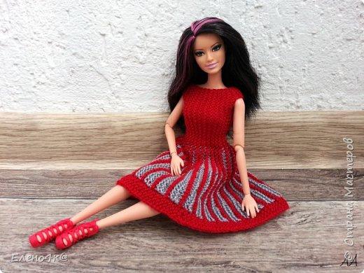 Моя Ракелька приоделась)  Новое платье из акриловых ниток. Основа опять с сайта http://www.kimberly-club.ru/forum/?FID=18&PAGE_NAME=message&TID=6013 Кое-что переделано и более подробно расписан сам процесс вязания. фото 4