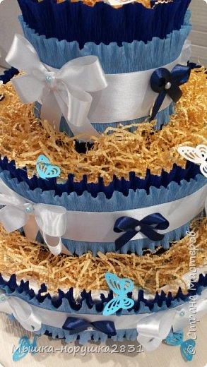 """Вот такой тортик испекся у меня по случаю рождения сыночка у коллеги. У нее это второй малыш, поэтому мы решили составить торт из косметических вещей для малыша. Одежды в этом торте нет. Состав: 82 подгузника """"Памперс""""(4-9 кг), 2 упаковки влажных салфеток, ватные палочки, гель для купания младенцев """"От макушки до пяточек"""", детские одноразовае пеленки(ими обернут каждый слой торта), прорезыватель для зубов, первая силиконовая ложечка, деткий крем под подгузник в 2-х вариантах.Ну, и маленькая новая погремушка. фото 5"""