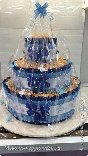 """Вот такой тортик испекся у меня по случаю рождения сыночка у коллеги. У нее это второй малыш, поэтому мы решили составить торт из косметических вещей для малыша. Одежды в этом торте нет. Состав: 82 подгузника """"Памперс""""(4-9 кг), 2 упаковки влажных салфеток, ватные палочки, гель для купания младенцев """"От макушки до пяточек"""", детские одноразовае пеленки(ими обернут каждый слой торта), прорезыватель для зубов, первая силиконовая ложечка, деткий крем под подгузник в 2-х вариантах.Ну, и маленькая новая погремушка. фото 1"""
